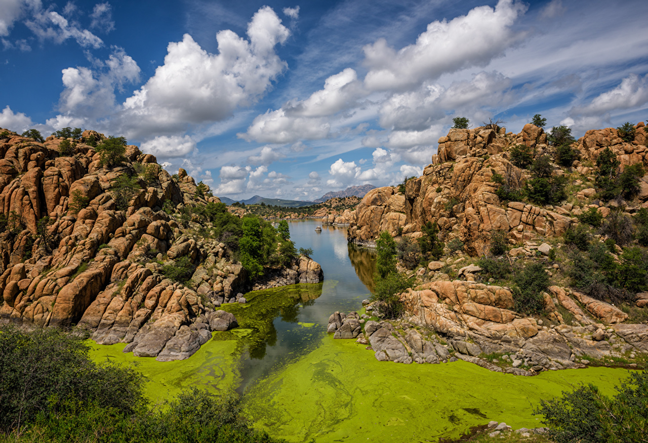 Foto USA Prescott, Watson Lake, Arizona Natur Felsen See Himmel Wolke Vereinigte Staaten