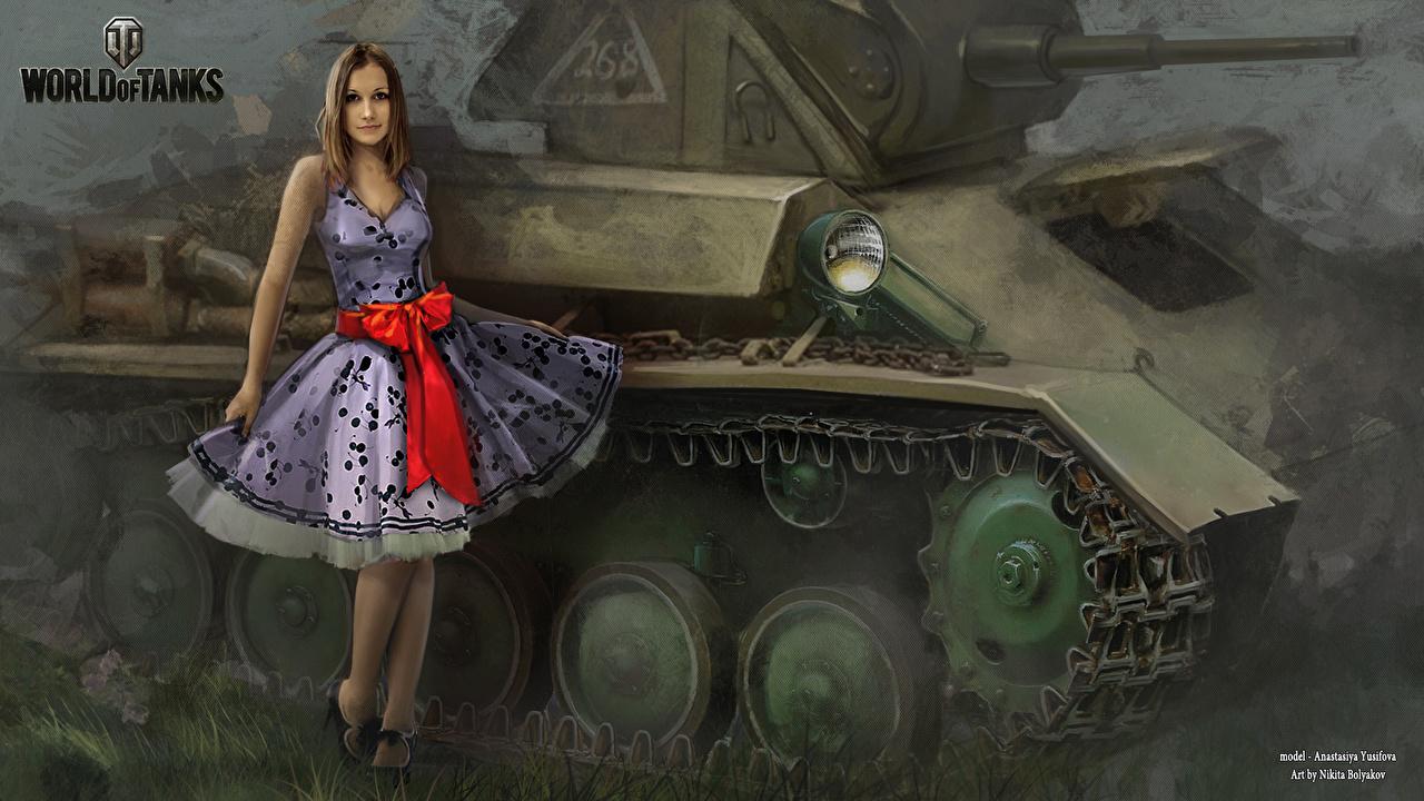 Image World of Tanks Nikita Bolyakov Tanks Girls vdeo game Painting Art WOT tank female young woman Games