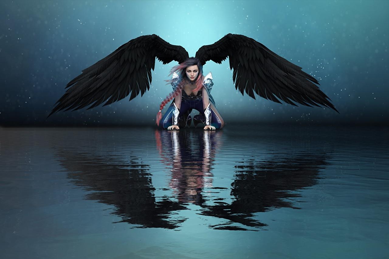 Desktop Hintergrundbilder Flügel Fantasy 3D-Grafik Mädchens Engeln Spiegelung Spiegelbild Wasser junge frau junge Frauen Engel spiegelt Reflexion