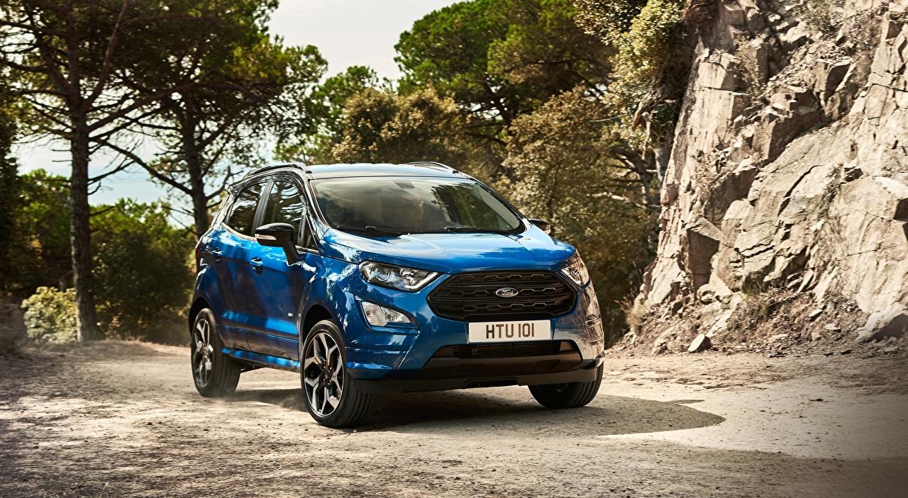Wallpaper Ford Crossover EcoSport, ST-Line, 2017 Blue auto CUV Cars automobile