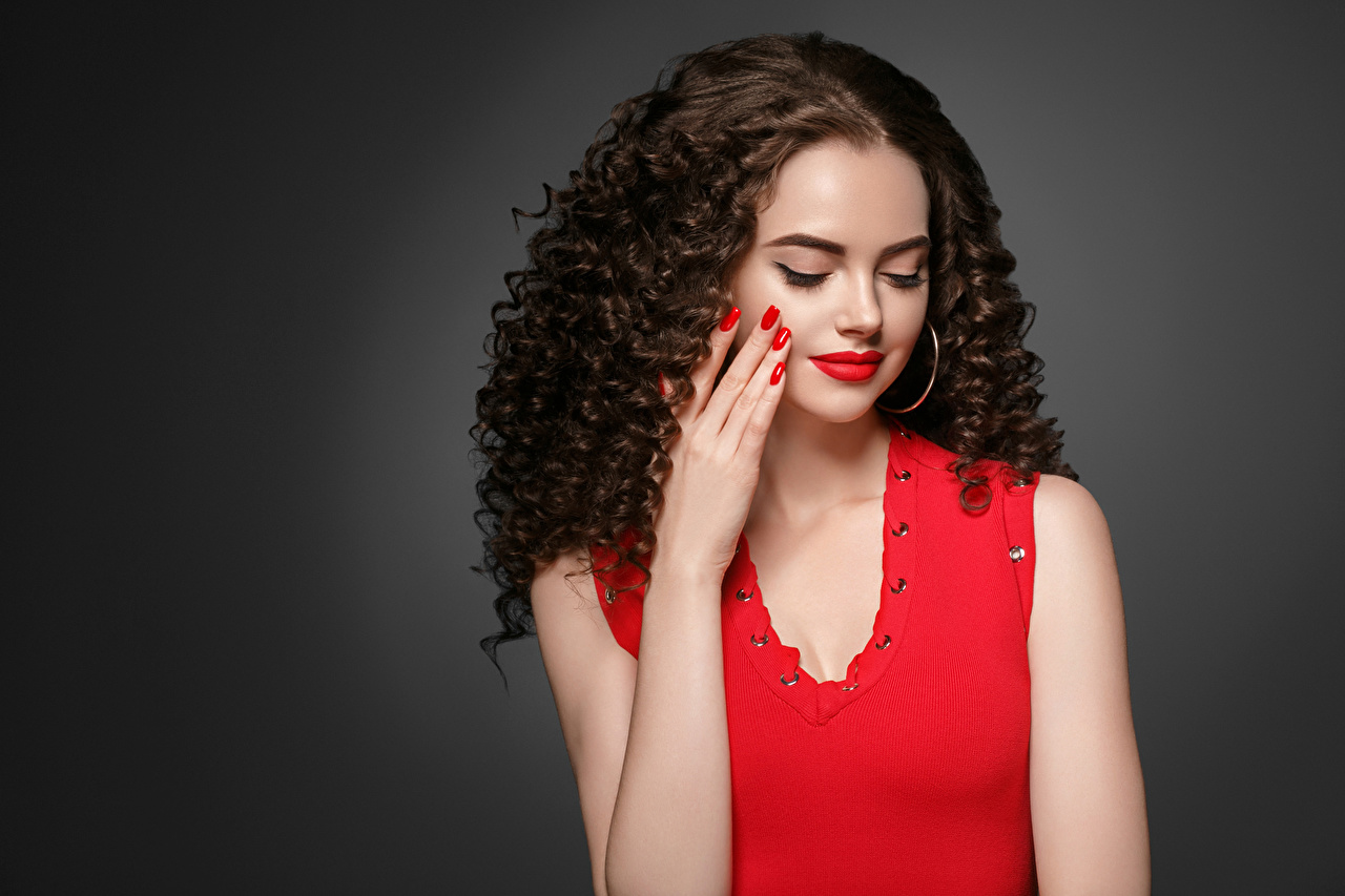 Image Brown haired Manicure Hair Girls Hands Red lips Gray background