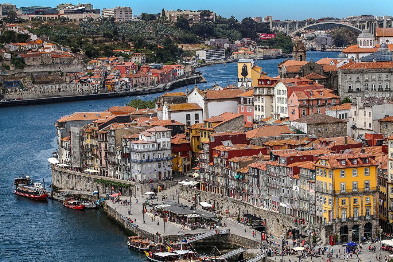 Tapeta Porto Portugalia Statki rzeczne Zatoka Przystań Miasta budynki zatoki Domy miasto budynek