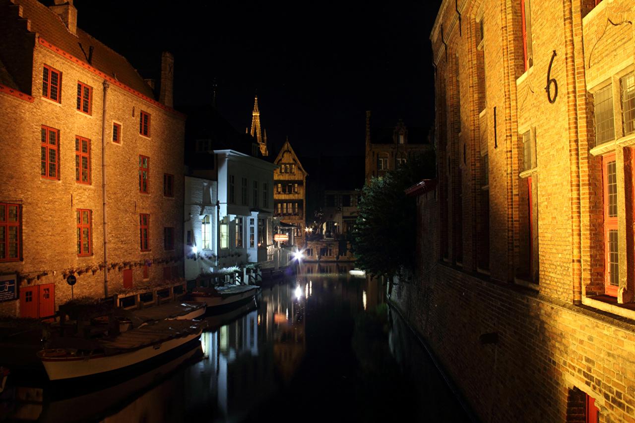 Обои канал, бельгия, брюгге, дома, ночь. Города foto 12