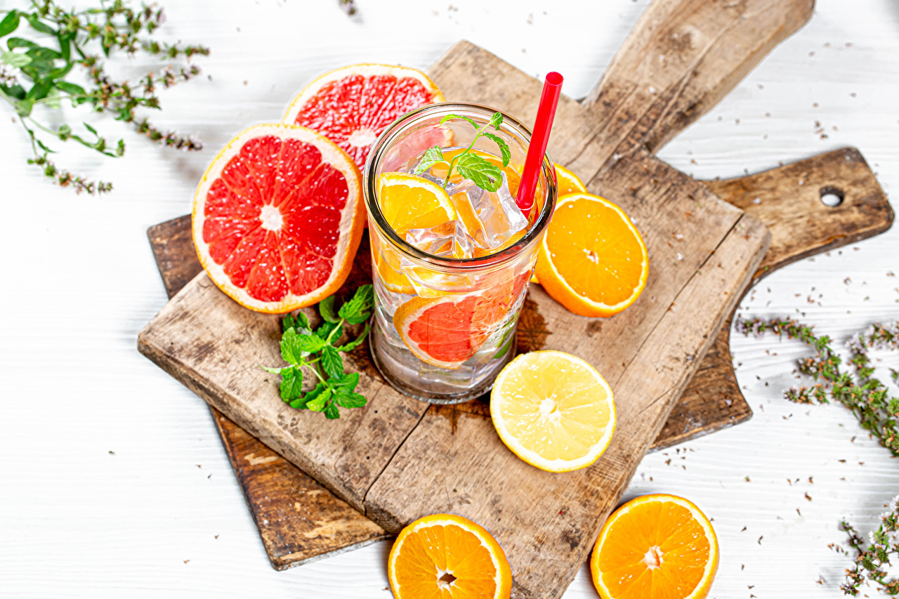 Desktop Wallpapers Lemonade Grapefruit Orange fruit Lemons Highball glass Food Cutting board Drinks drink