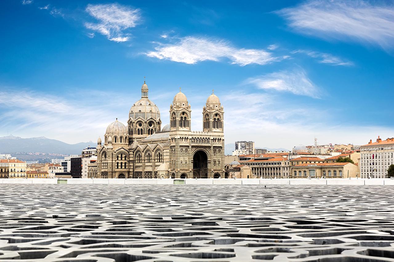 Photos Marseille France Cathedral de la Major temple Rivers Cities Building river Temples Houses