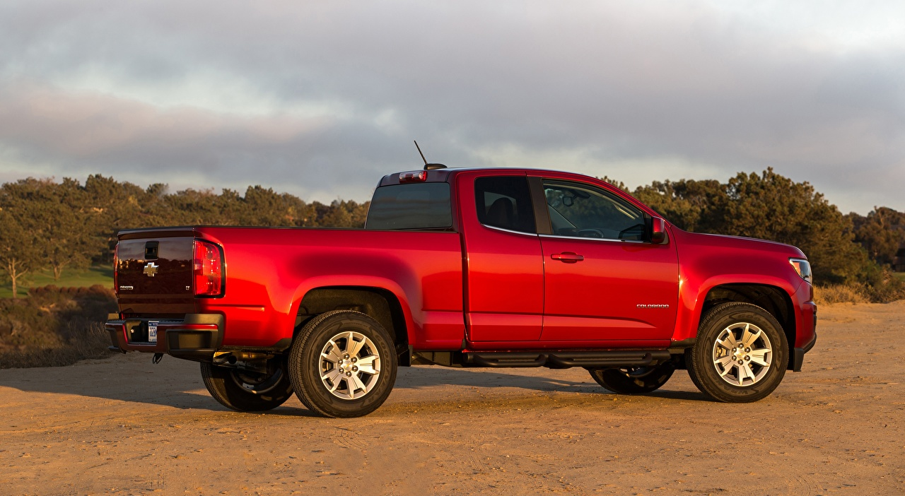 Desktop Wallpapers Chevrolet Colorado, LT Extended Cab, 2014 Pickup Red Side Cars auto automobile