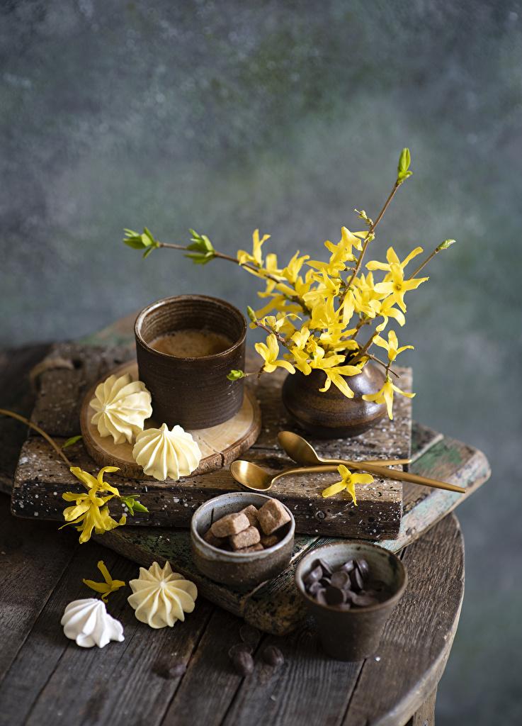 Foto Zefir Kaffee Getreide Ast Vase Becher Löffel Lebensmittel  für Handy das Essen