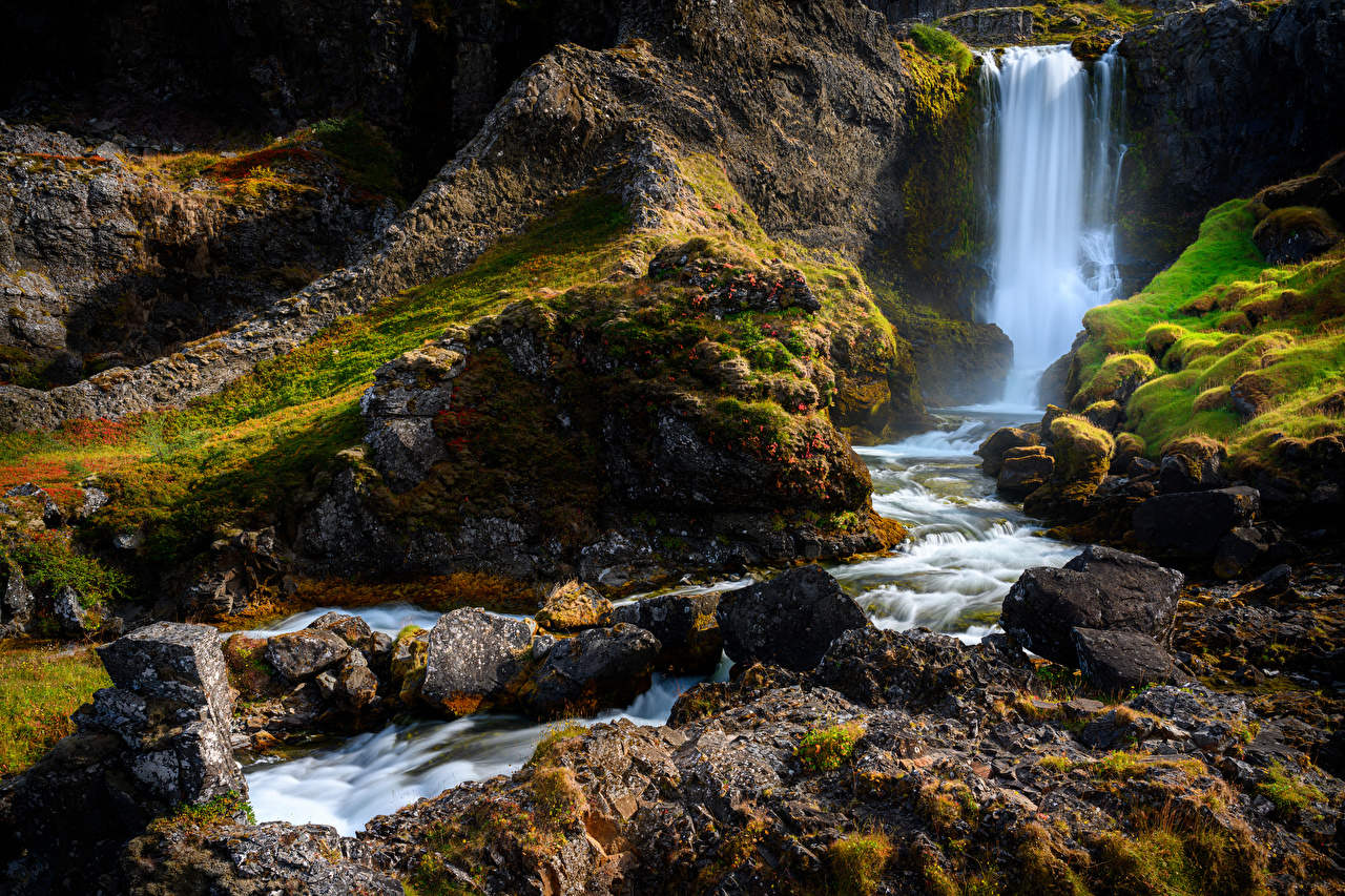 Photo Iceland Cliff Nature Waterfalls Moss stone Crag Rock Stones