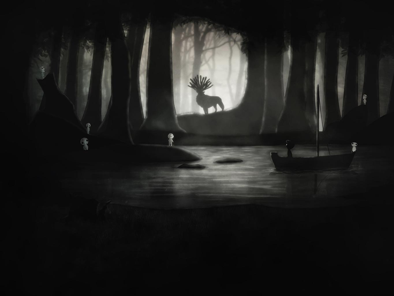 壁紙 シカ もののけ姫 森林 夜 アニメ ダウンロード 写真