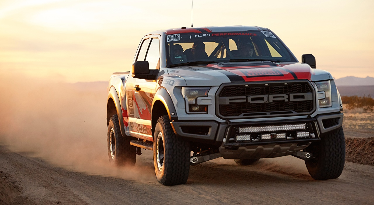 Pictures Ford F-150, Raptor, Race Truck, 2016 Pickup at speed auto Motion riding moving driving Cars automobile
