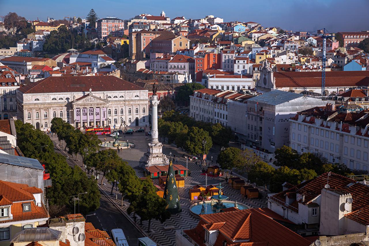 、住宅、ポルトガル、リスボン、Sacramento、上から、広場、建物、都市、