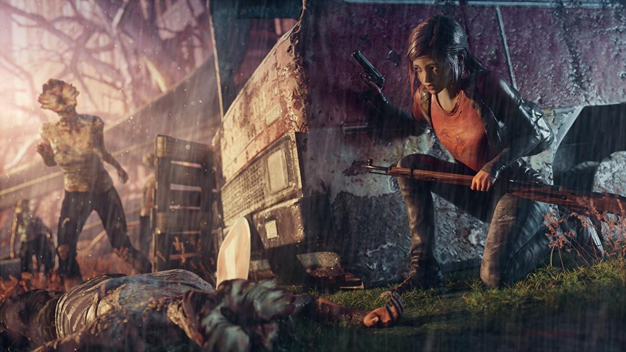 Hintergrundbilder The Last of Us Kleine Mädchen Zombie Gewehr ellie Regen Spiele