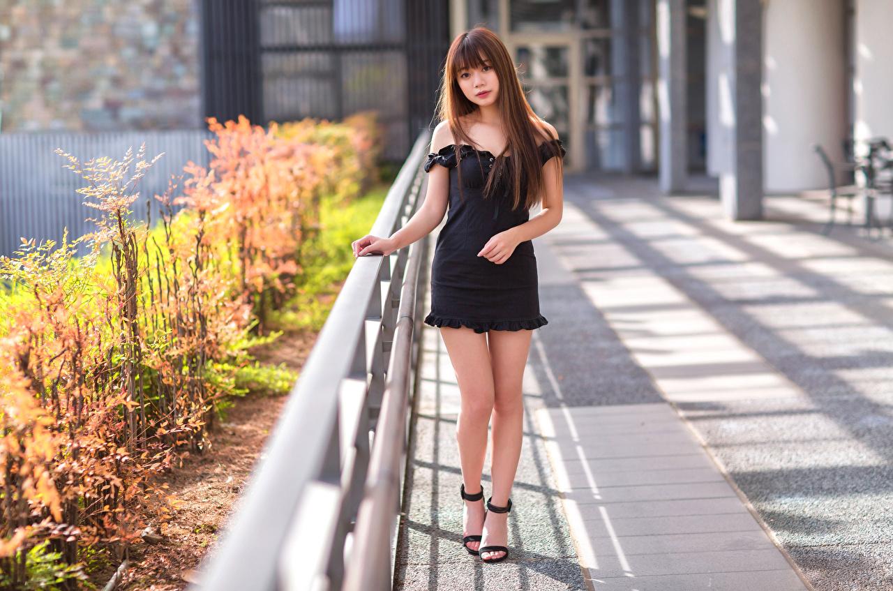 Desktop Hintergrundbilder Pose junge Frauen Bein asiatisches Blick Kleid posiert Mädchens junge frau Asiaten Asiatische Starren