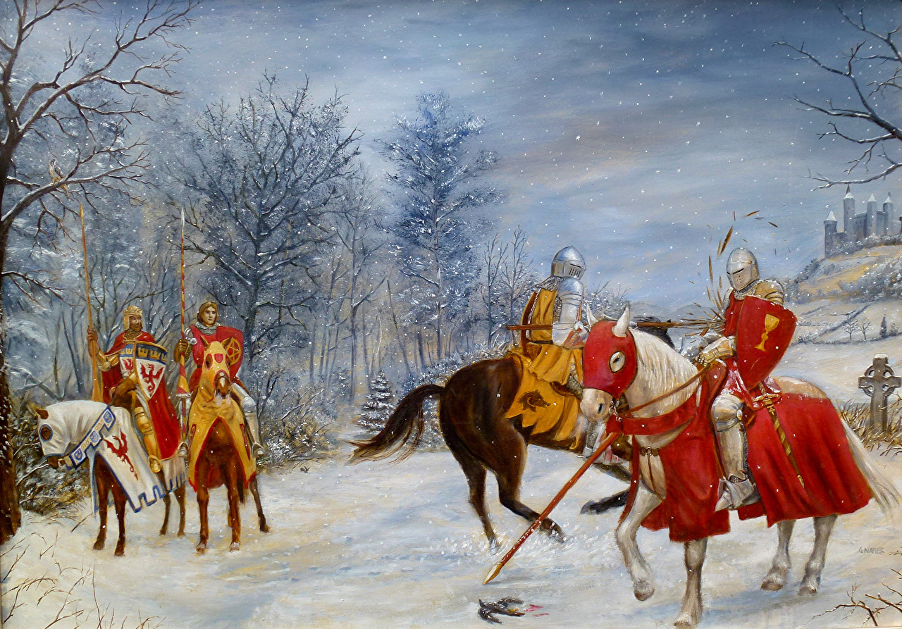 Foto Pferde Ritter Mittelalter Winter Fantasy
