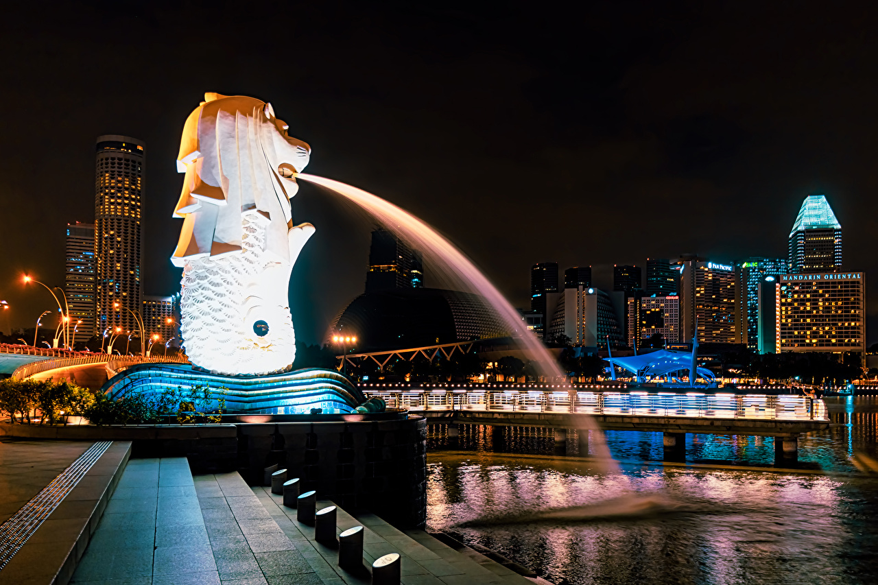 Pictures Singapore Fountains stairway night time Houses Cities Sculptures Stairs staircase Night Building