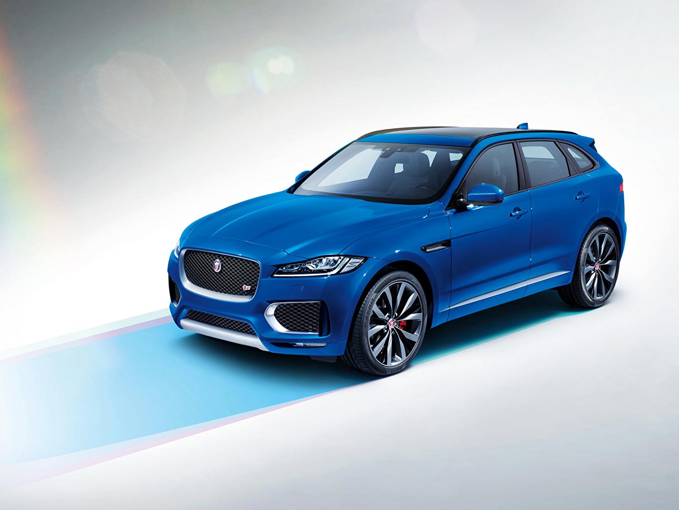 Wallpaper 2015 Jaguar F-Pace LE S Blue automobile Cars auto