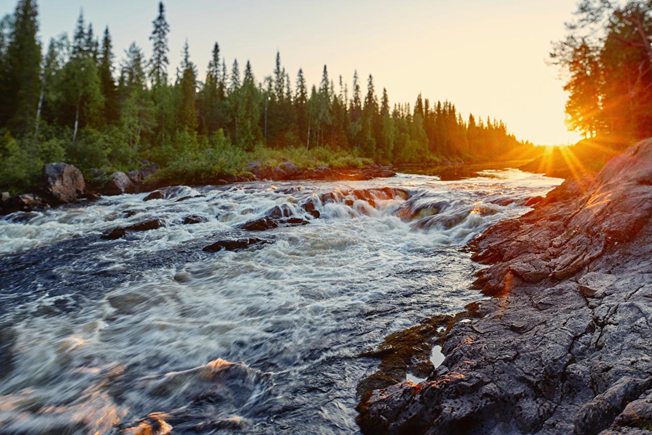 Images Rays of light Russia Karelia, River Tumcha Nature Sunrises and sunsets river sunrise and sunset Rivers