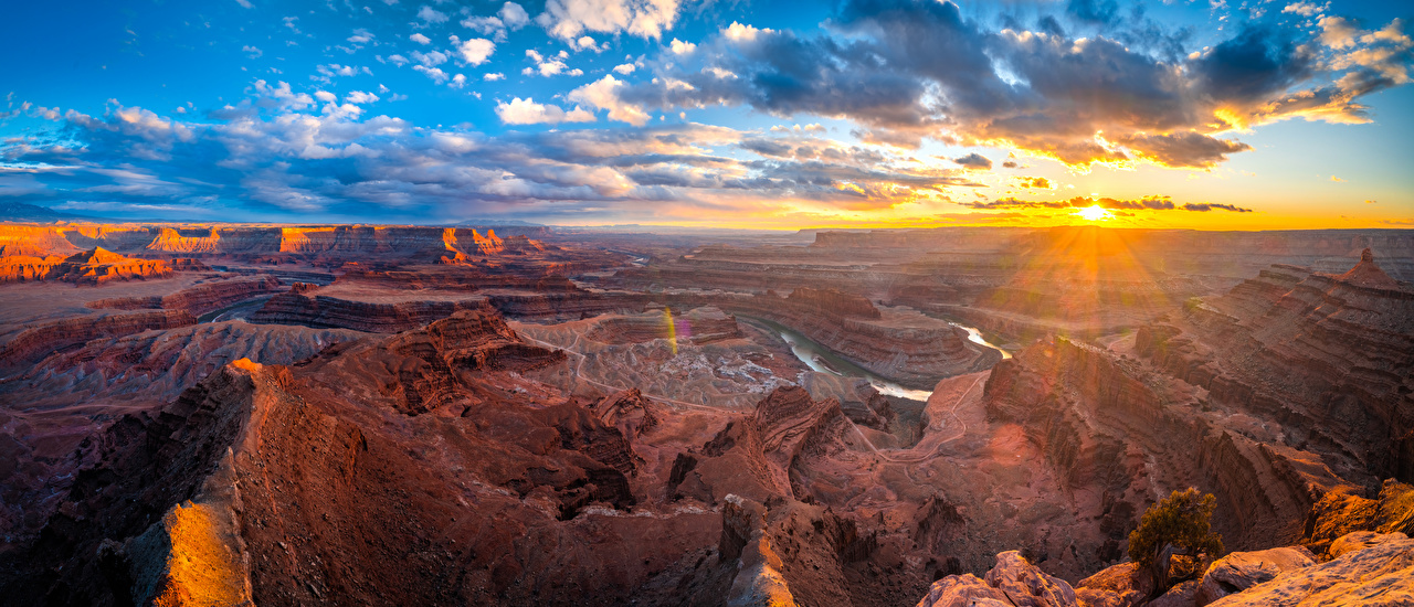 Photo USA Panorama Dead Horse Point State Park, Utah Sun Cliff Canyon Nature Parks Sunrises and sunsets landscape photography Clouds panoramic Crag Rock canyons park Scenery sunrise and sunset
