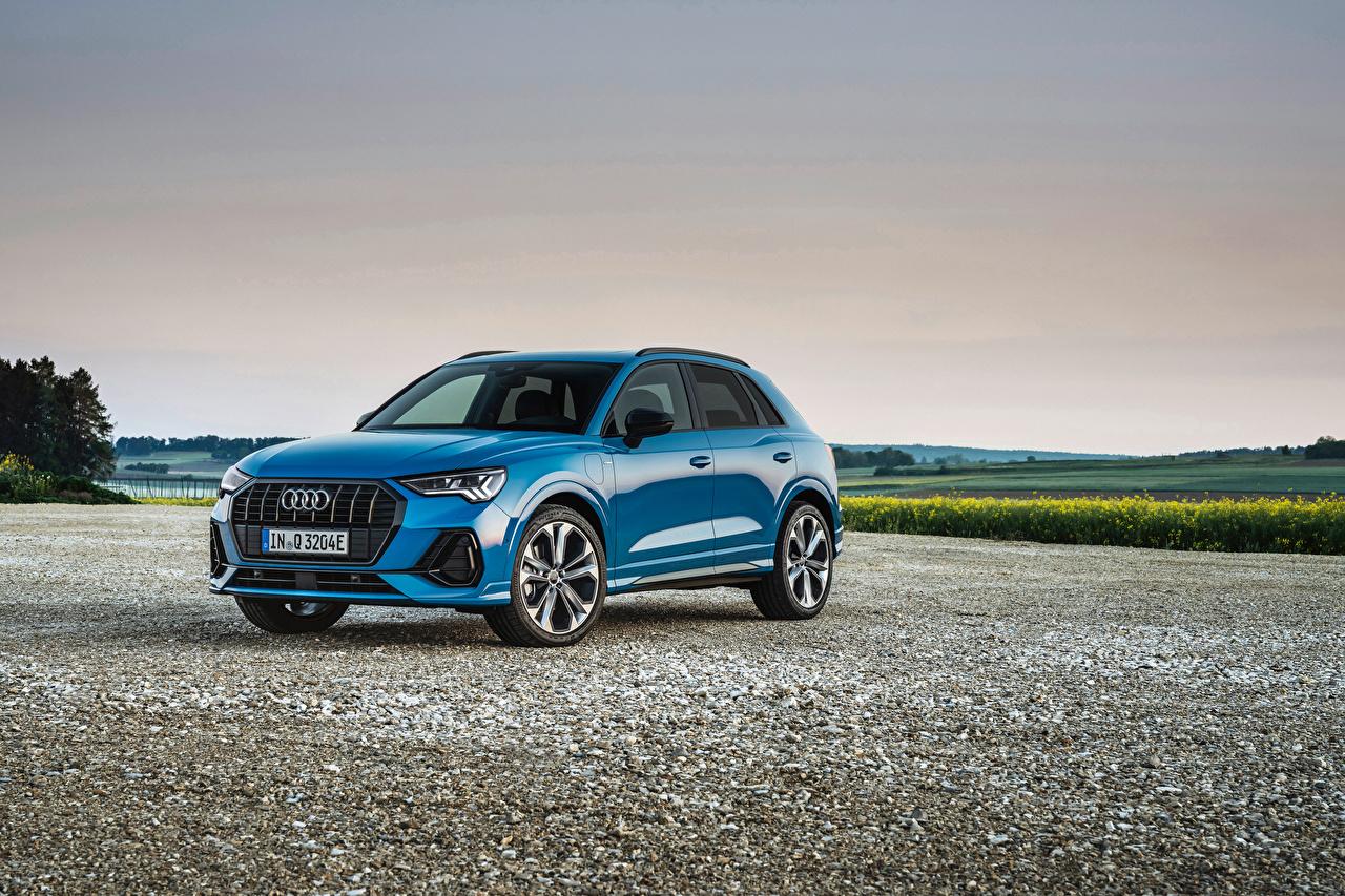 Picture Audi Crossover Q3 45 TFSI e S line, 2020 Hybrid vehicle Light Blue auto Metallic CUV Cars automobile