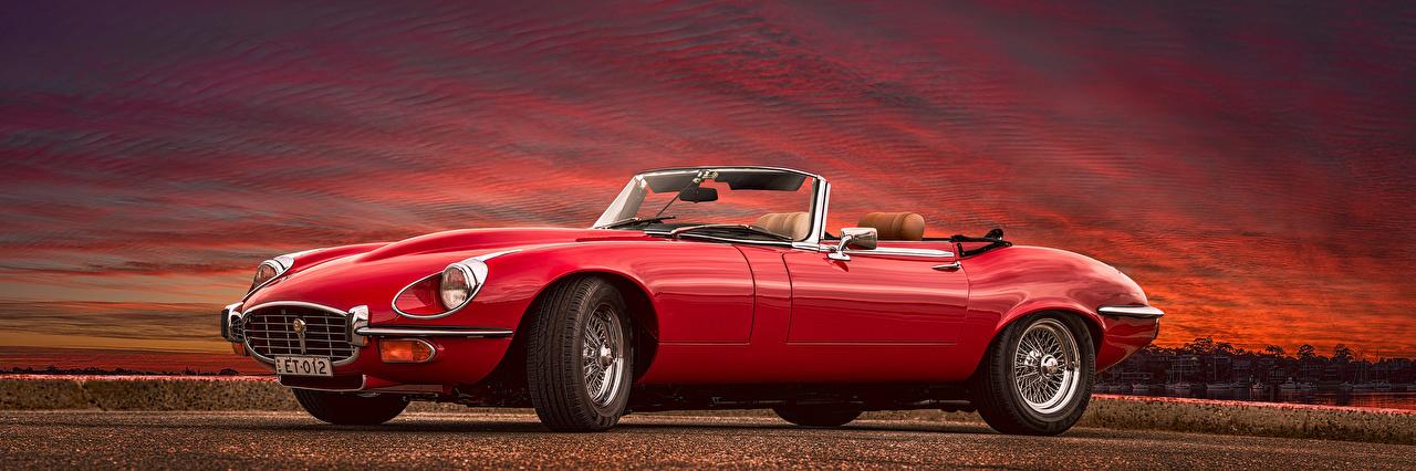 Desktop Wallpapers Jaguar E-Type, 1961-75 Red Retro Cars Metallic vintage antique auto automobile