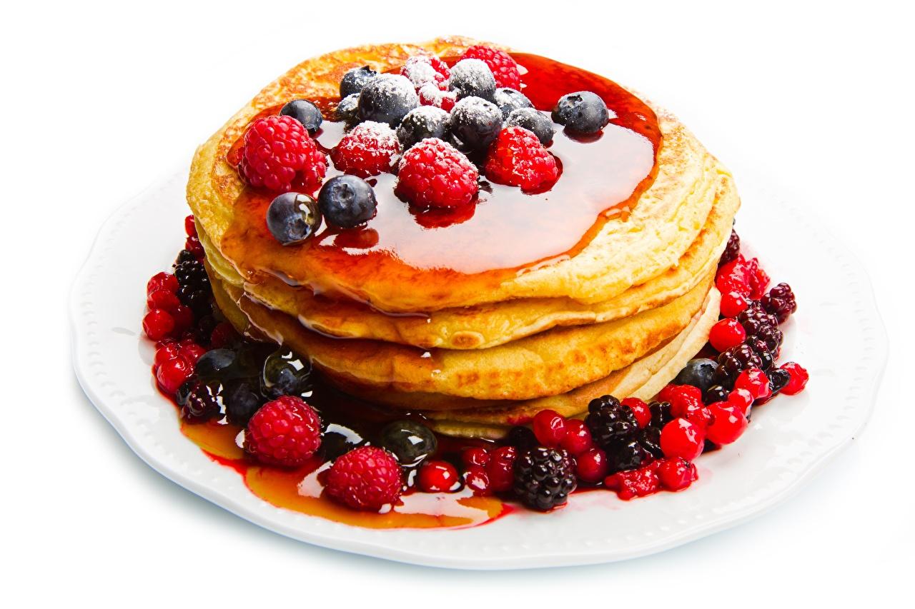 Images Pancake Fruit preserves Raspberry Blueberries Food Berry White background Jam Varenye hotcake