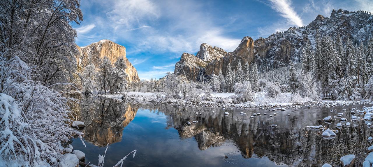 USA Parc Montagnes Hiver Lac Panorama Yosemite Arbres Californie montagne, parcs, États-Unis, photographie Nature