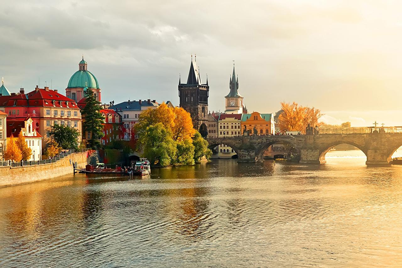 Desktop Wallpapers Prague Czech Republic bridge Rivers Cities Bridges river