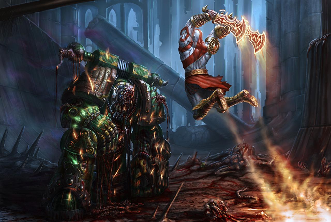 Wallpaper God of War Armor Swords warrior Kratos, PlagueMarine Jump
