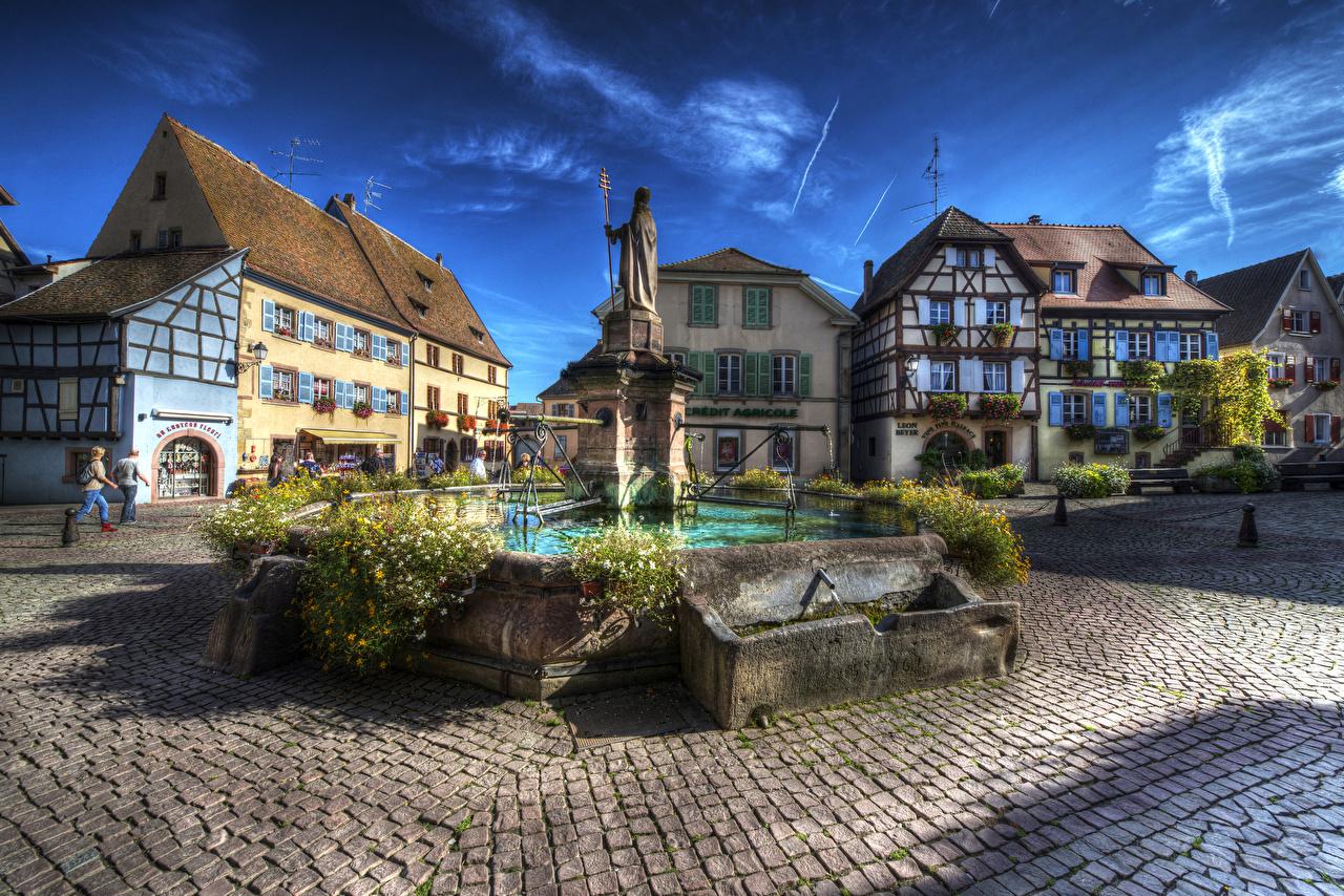 Bilder von Frankreich Denkmal Springbrunnen Platz Eguisheim Alsac HDRI Haus Städte HDR Gebäude