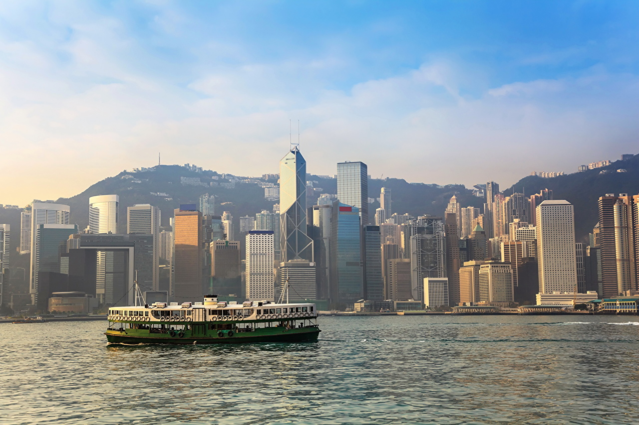 Images Hong Kong China Rivers Skyscrapers Cities river