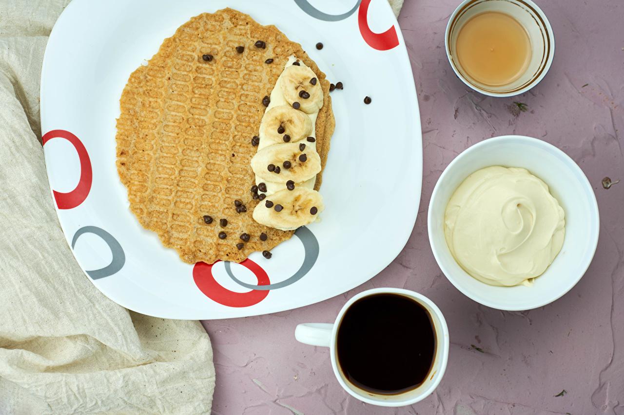 Wallpaper Sour cream Chocolate Honey Coffee Pancake Bananas Cup Food Plate soured cream hotcake