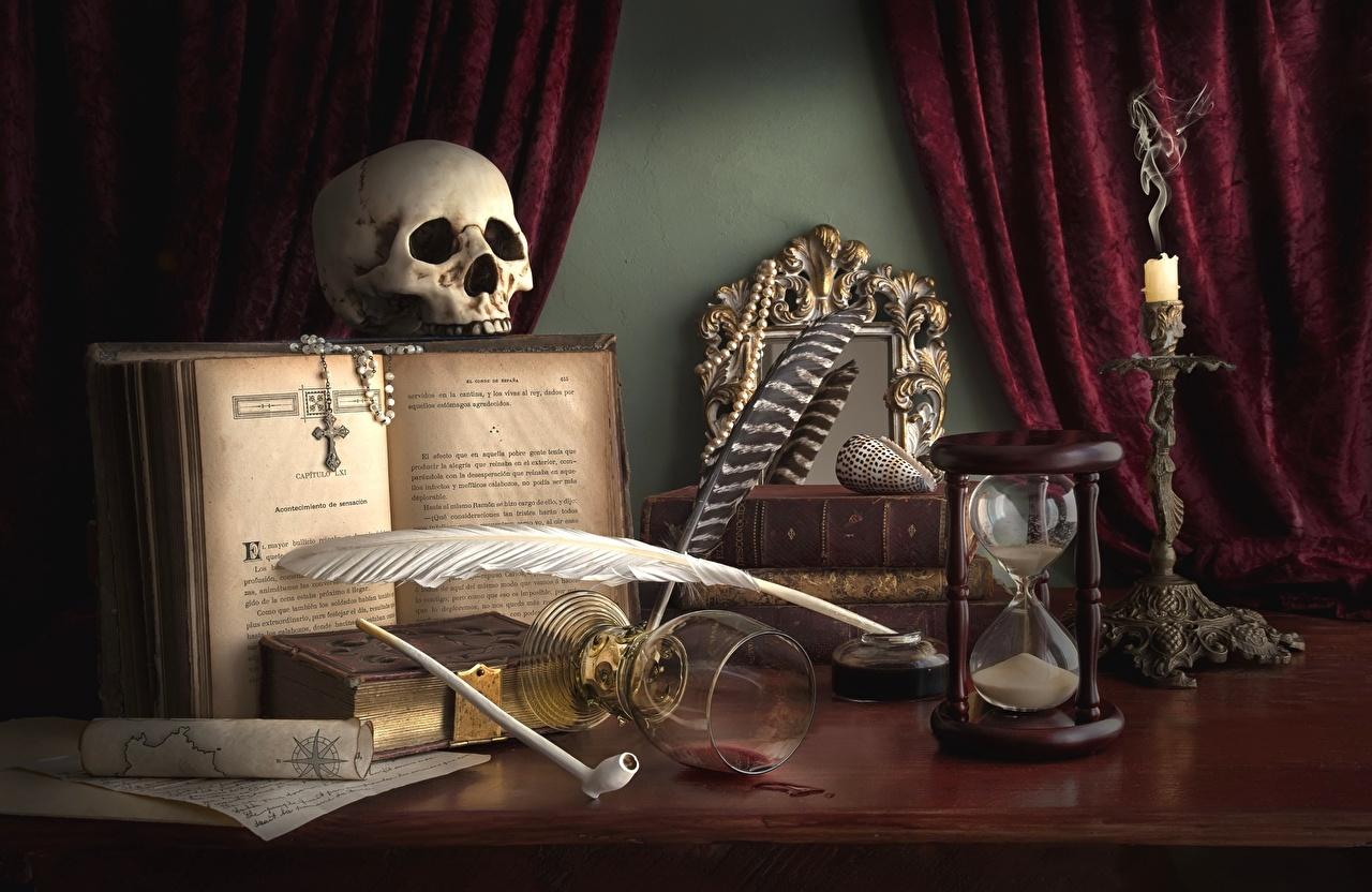 Crânio Pena Gótico Fantasia Ampulheta Livro Copo de vinho góticas, penas, livros