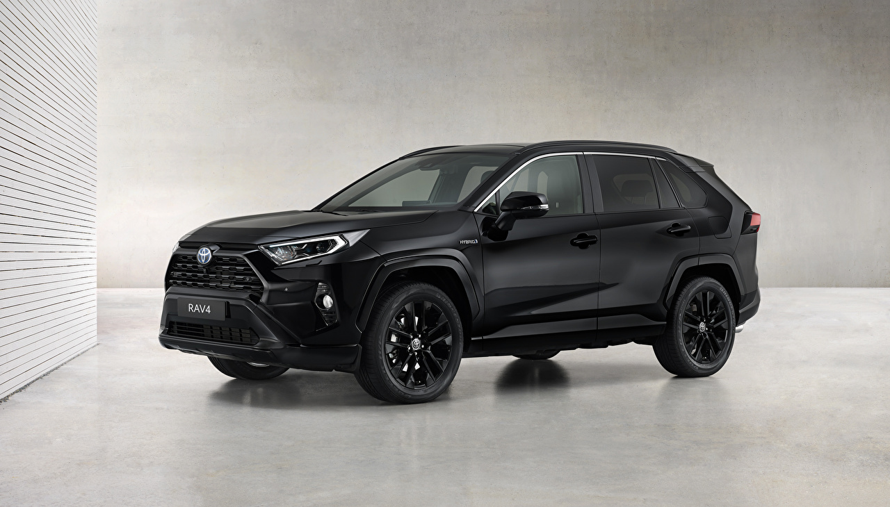 Desktop Wallpapers Toyota RAV4 Hybrid, Black Edition, 2020 Metallic automobile Cars auto