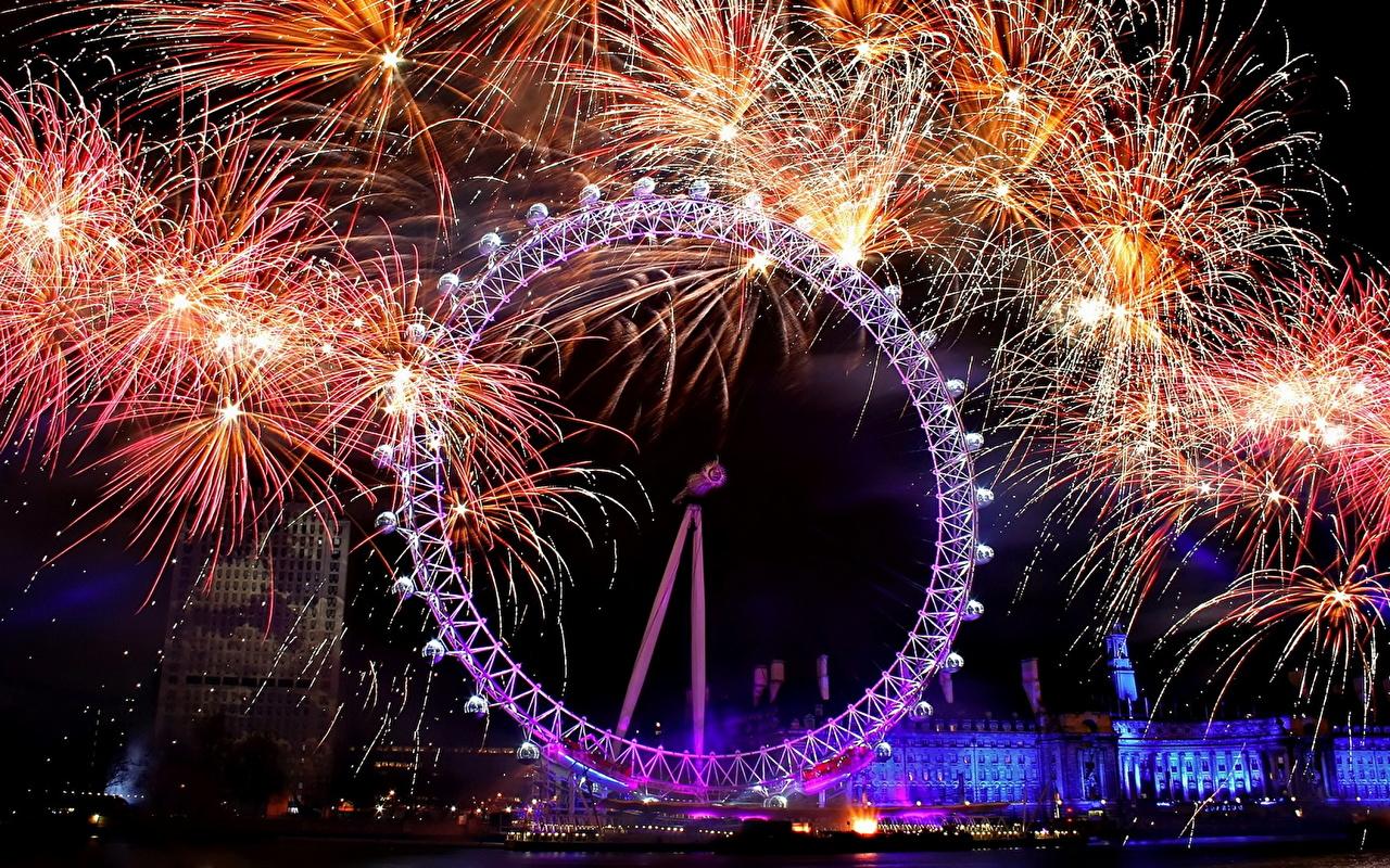 壁紙 イングランド 花火 ロンドン 夜 観覧車 都市 ダウンロード