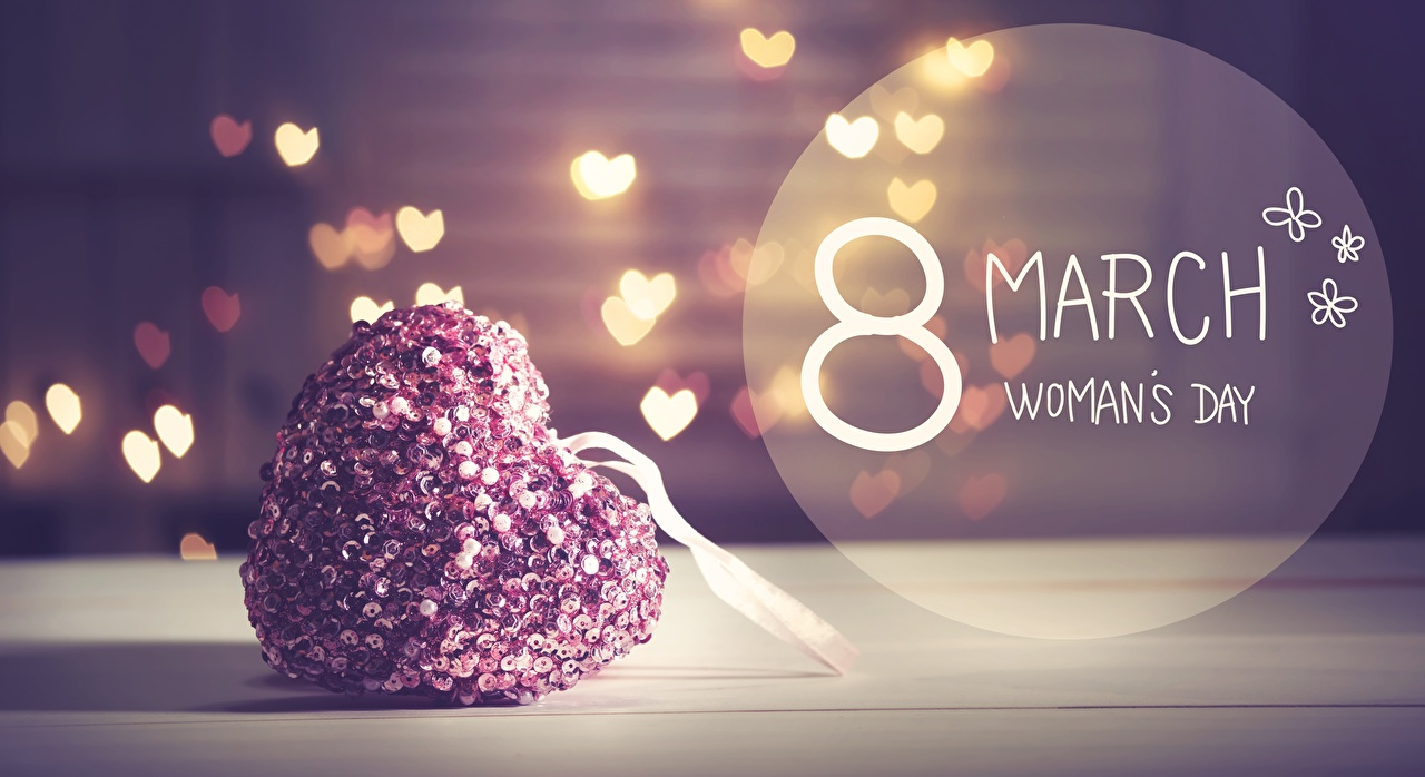 Image March 8 English Heart text International Women's Day lettering Word - Lettering