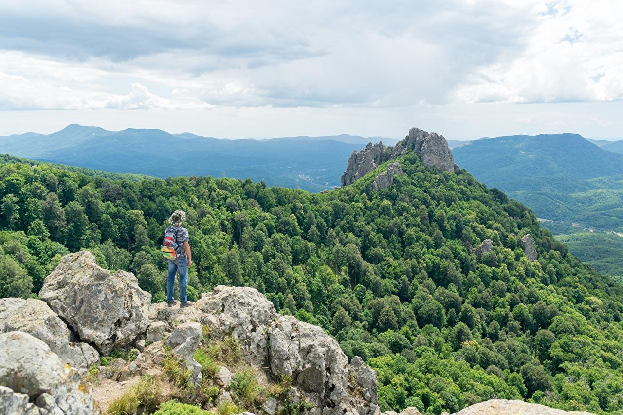 Bilder von Reisender Rucksack Natur Felsen Gebirge Der Hut Wälder Tourist Berg Wald