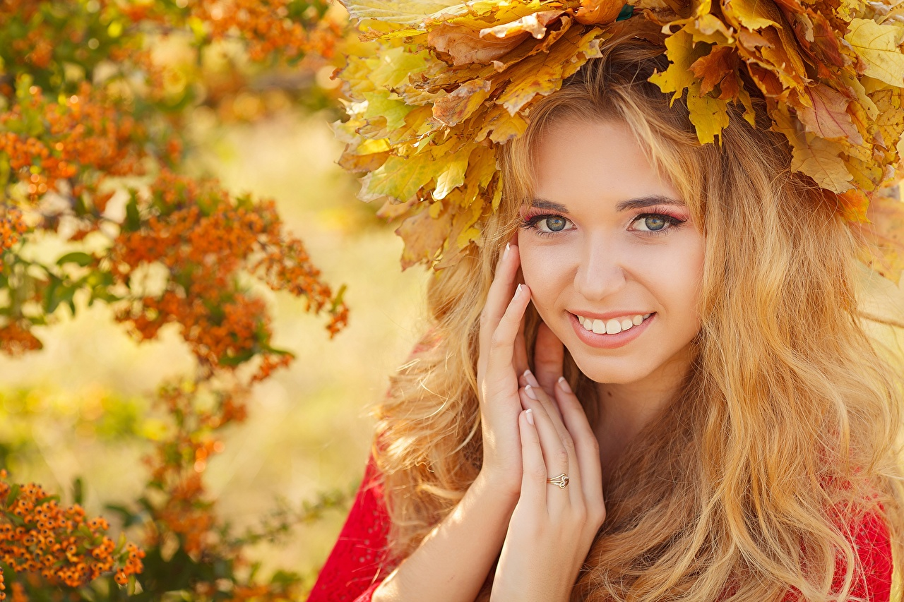 Wallpaper Foliage Blonde girl Smile Autumn young woman Hands Staring Leaf Girls female Glance