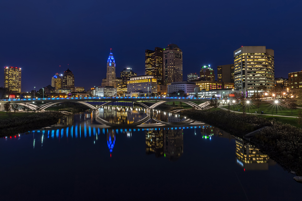 Picture USA Columbus Ohio Bridges river night time Street lights Houses Cities bridge Night Rivers Building