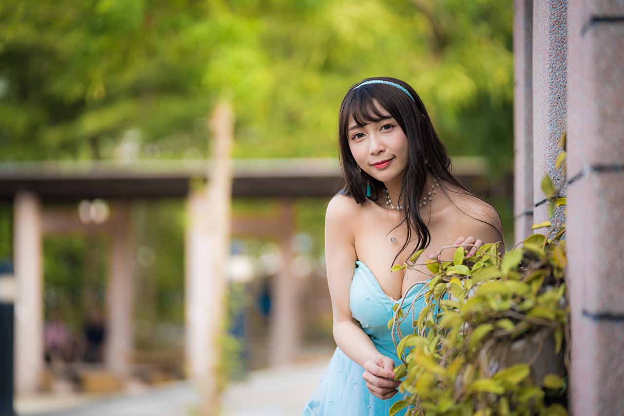 Photo Brunette girl blurred background Décolletage Girls Asian Staring Dress Bokeh neckline decollete female young woman Asiatic Glance gown frock