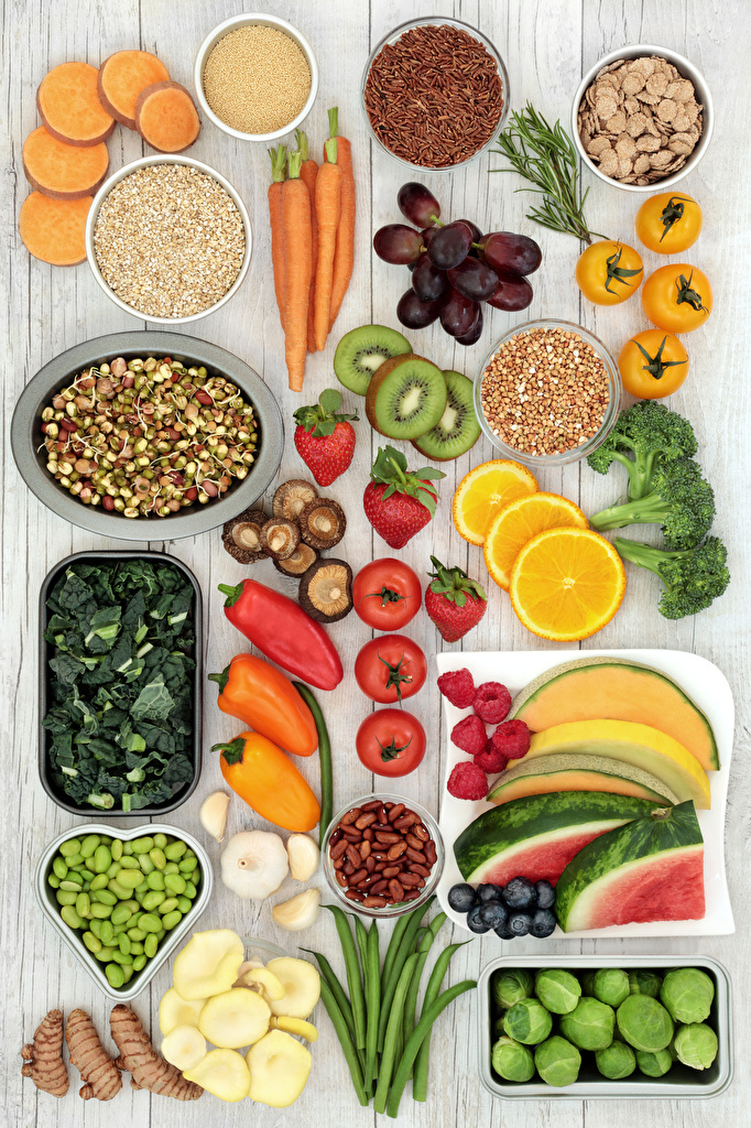 Picture Carrots Tomatoes Mushrooms Strawberry Watermelons Food Fruit Vegetables Bell pepper Nuts  for Mobile phone