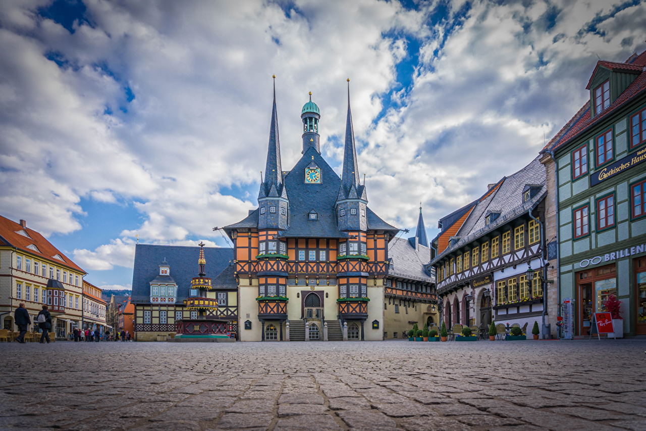 Image Germany Town square Wernigerode Clock Cities Building Houses