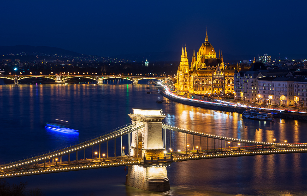 Pictures Budapest Hungary bridge river Night Fairy lights Street lights Cities Building Bridges Rivers night time Houses