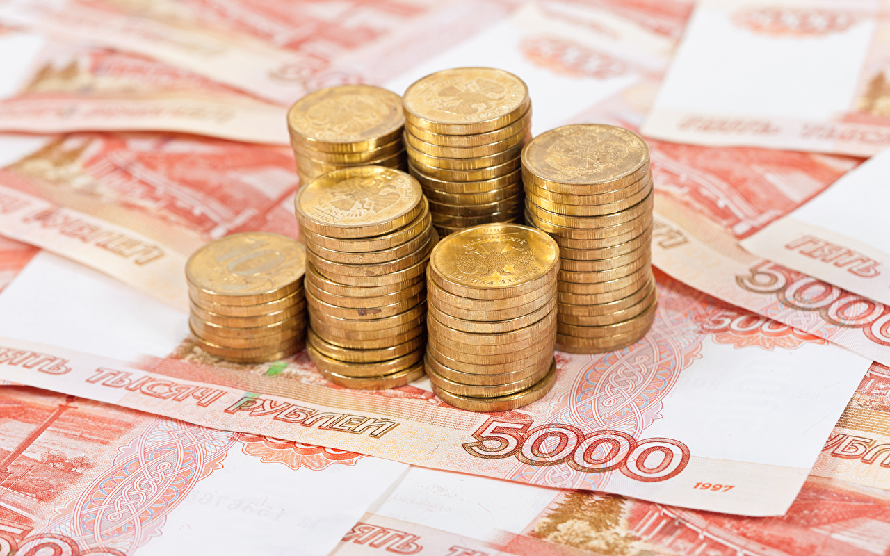 Wallpaper Coins Roubles Banknotes 5000 Money Closeup Paper money
