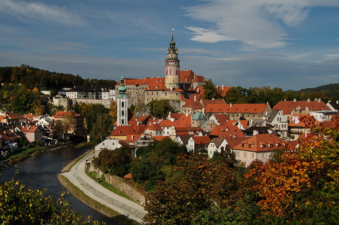 Desktop Wallpapers Czech Republic towers Castles Rivers Cities Building Tower castle river Houses