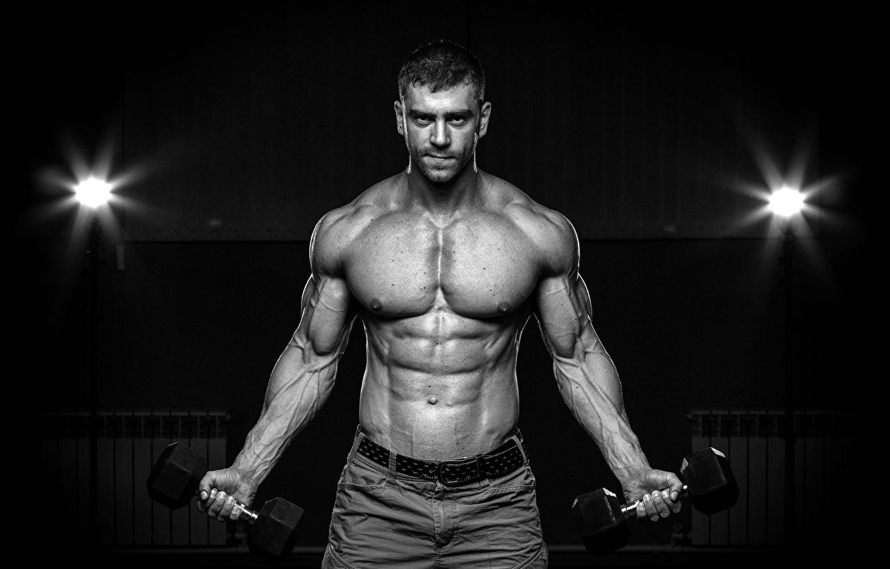 Fotos von Mann Muskeln Hanteln Bauch Schwarzweiss Hantel schwarz weiß