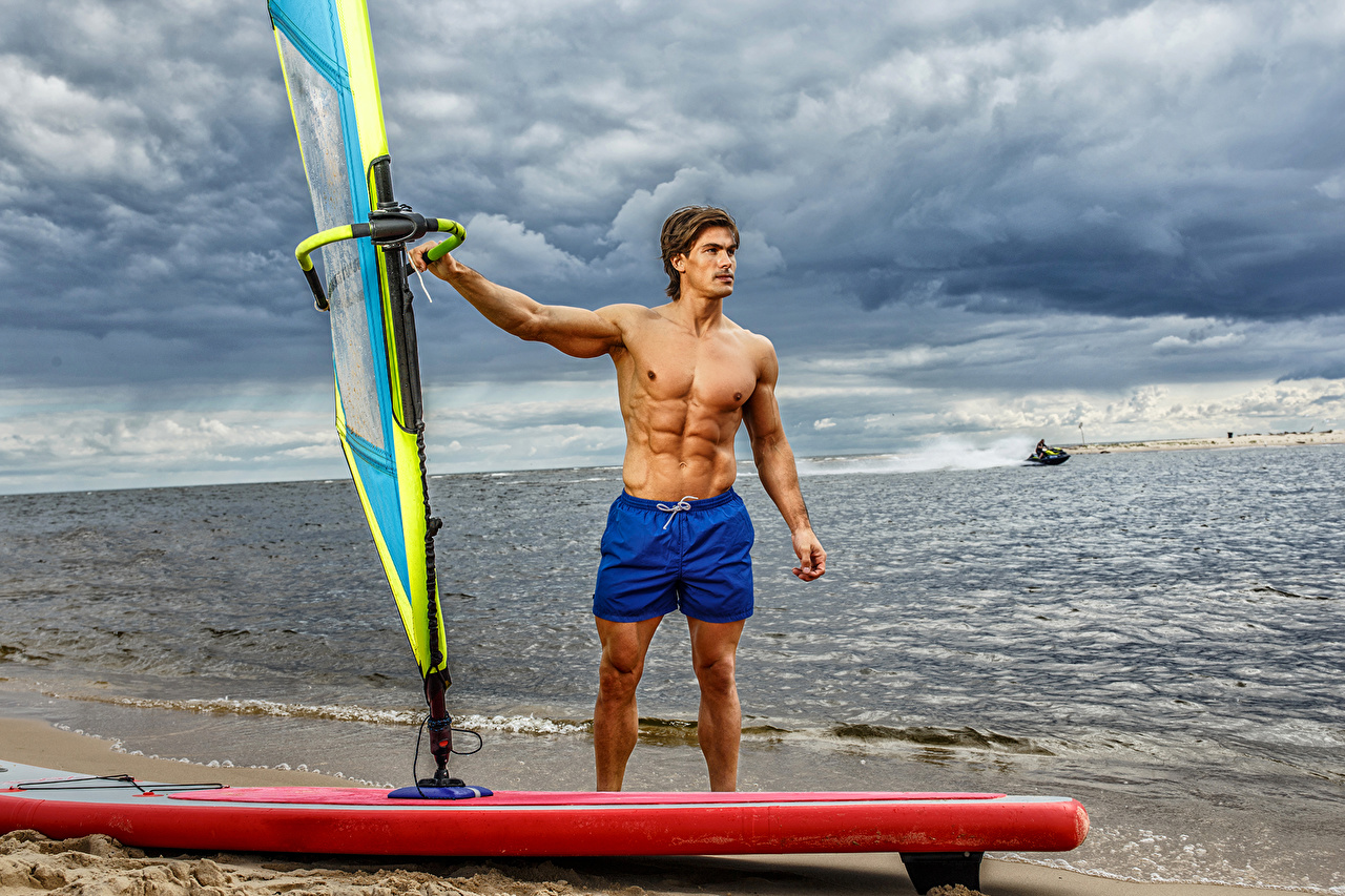 Desktop Wallpapers sports Man Surfing Beautiful Coast Shorts Sport athletic Men