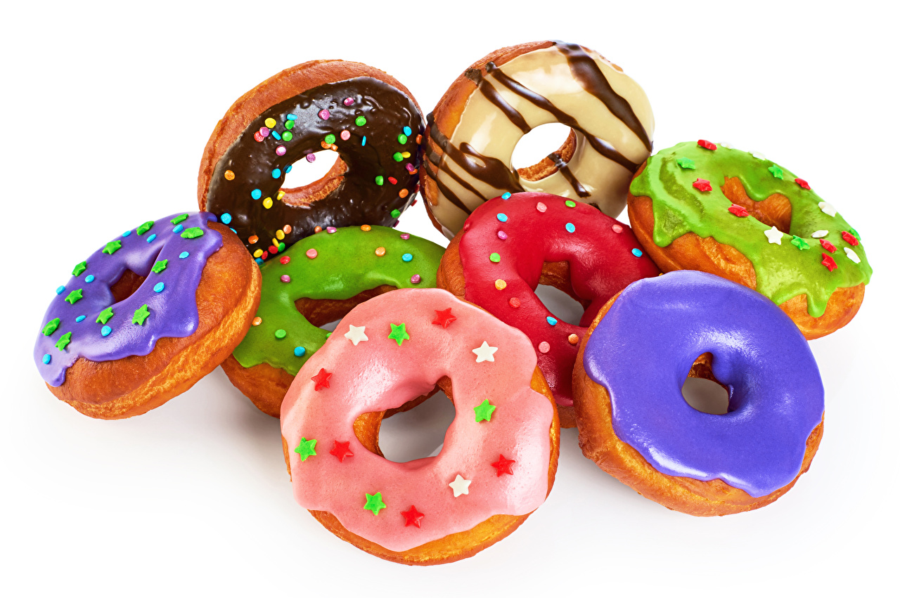 Pictures Multicolor Doughnut Food White background Donuts