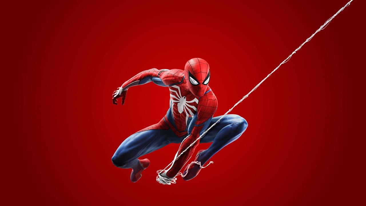 Foto Spiderman Held 2018 ps4 Spiele Roter Hintergrund