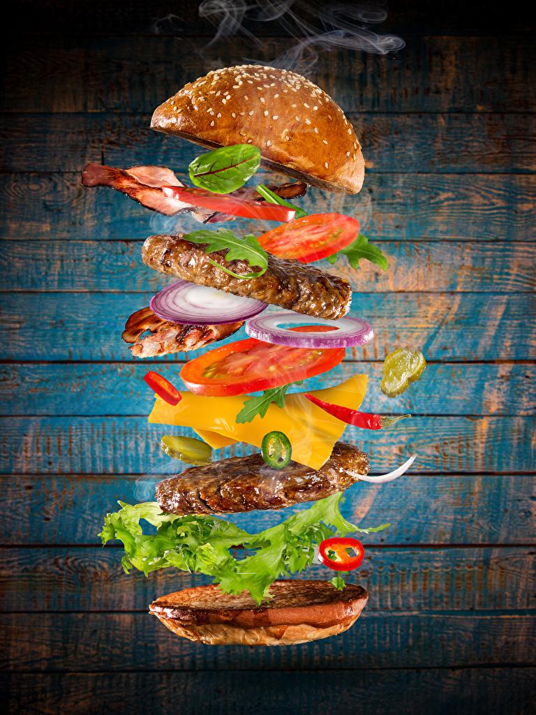 Bilder Burger Brötchen Fast food Gemüse das Essen Fleischwaren Bretter Hamburger Lebensmittel