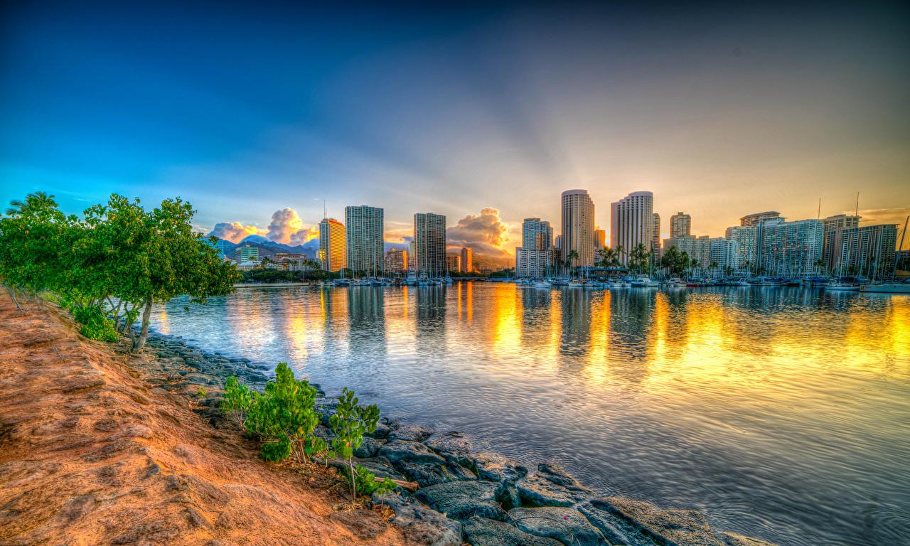 壁紙 住宅 朝焼けと日没 海岸 Honolulu ハワイ州 湾 ハイ